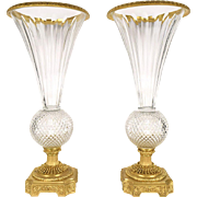 Pair Of French Gild Bronze Crystal Vases