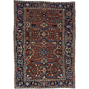 Antique Persian Heriz Even Wear Good Cond Hand-Knotted Rug