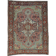 Hand-Knotted Antique Persian Serapi Good Cond Even Wear Rug