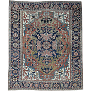Hand-Knotted Antique Persian Heriz Even Wear Oriental Rug