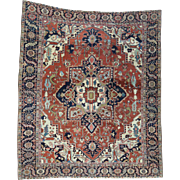 Hand-Knotted Antique Persian Serapi Squarish Good Cond Rug