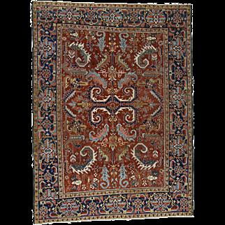 Antique Persian Heriz Full Pile Excellent Condition Oriental Rug