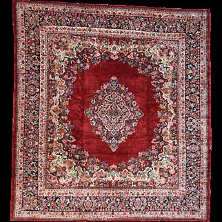 Hand-Knotted Squarish Antique Persian Sarouk Oriental Rug