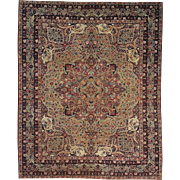 Hand Knotted Antique Persian Lavar Kerman 19th Century 11'x14' Rug