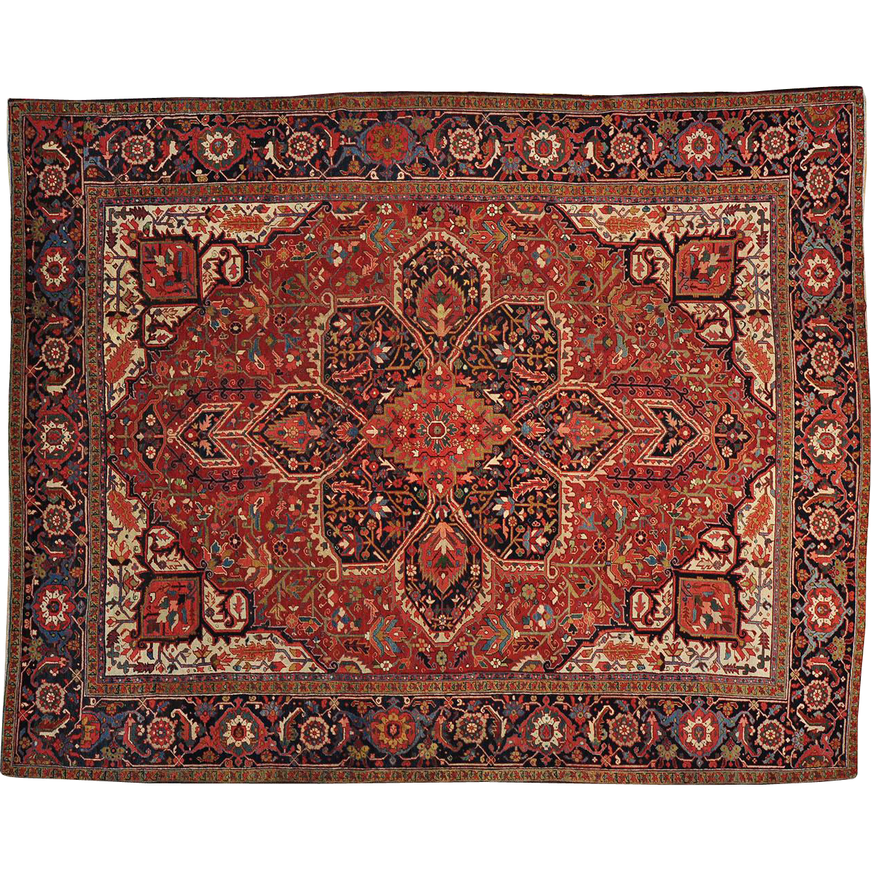 Vintage Persian Bokhara Wool Area Rug 10 X 13: Hand Knotted Antique Persian Heriz 11'x13' Exc Cond 100