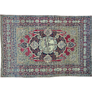 Antique Persian Kerman Sha With Poetry Knotted Rug 100% Wool Sh25864