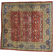 Antique Persian Kerman Exc Cond Square Hand Knotted Rug Sh25974