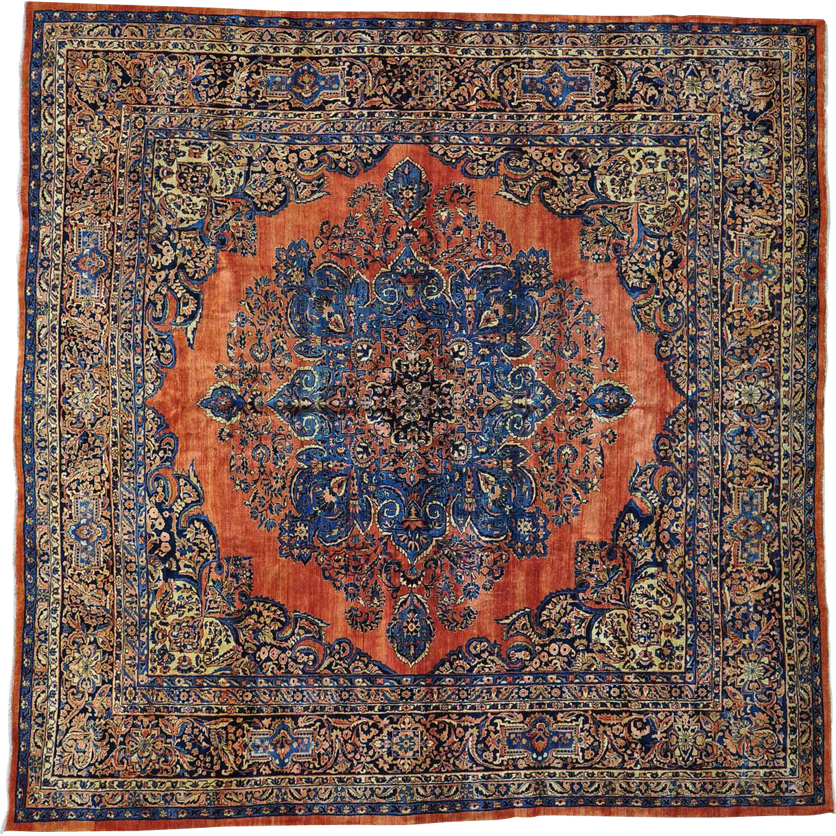 Oriental Rugs Red Bank Nj: Rust Red Antique Persian Sarouk Full Pile Square Oriental
