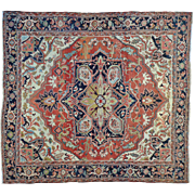 Antique Persian Serapi With Exc Restoration Squarish Rug Sh27079