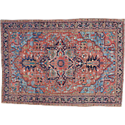 Antique Persian Heriz Good Cond Hand Knotted Oriental Rug Sh29389