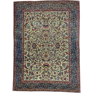 Antique Persian Kashan Good Cond Hand Knotted Oriental Rug Sh30105