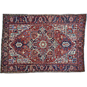 Pure Wool Antique Persian Heriz Hand Knotted Exc Cond Rug Sh30152