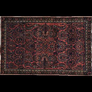 Antique Persian Sarouk Maharajan Full Pile Handmade Oriental Rug Sh30159