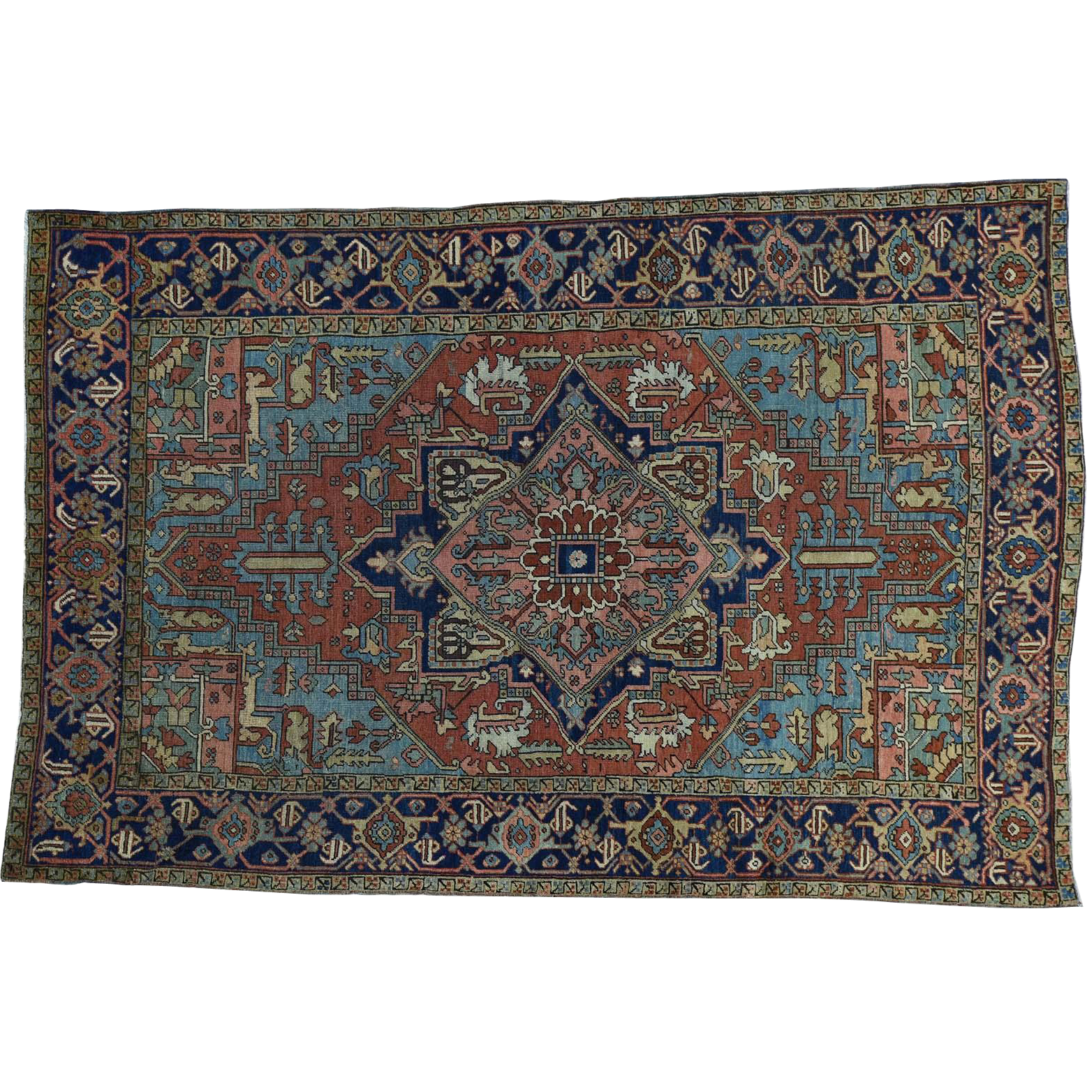 Oriental Rugs Red Bank Nj: Hand-Knotted Antique Persian Heriz Good Cond Oriental Rug