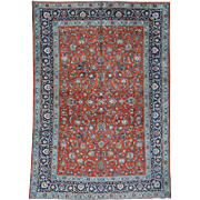 Hand-Knotted Antique Persian Kashan Full Pile Oriental Rug Sh32135