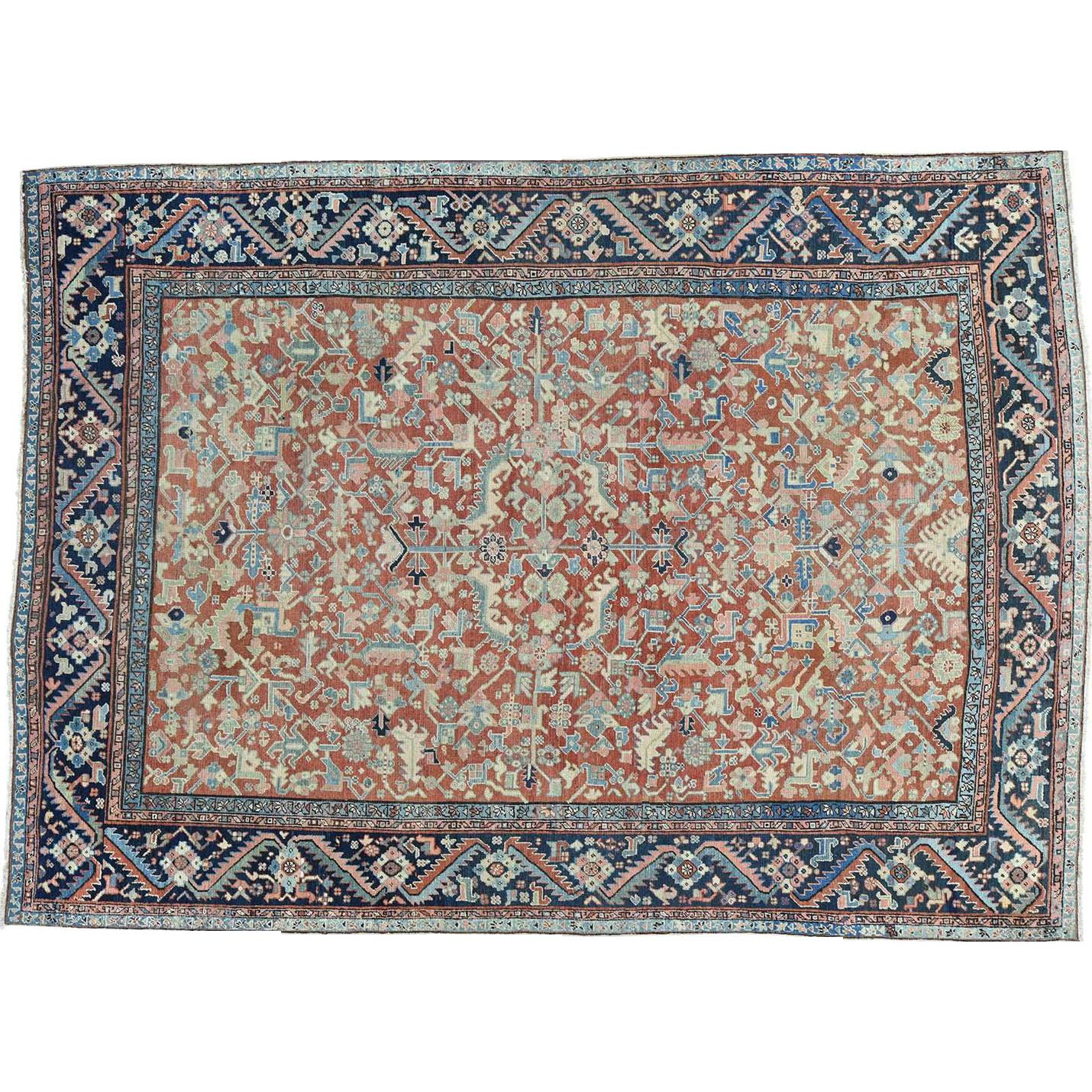 Vintage Persian Heriz Design Wool Area Rug: Antique Persian Heriz All Over Design Oriental Even Wear