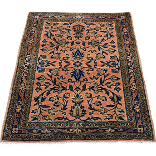 Antique Manchester Kashan Mat Hand-Knotted Oriental Rug Sh32159