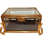 French Bronze Beveled Crystal Glass Box Casket Ormolu Mountings