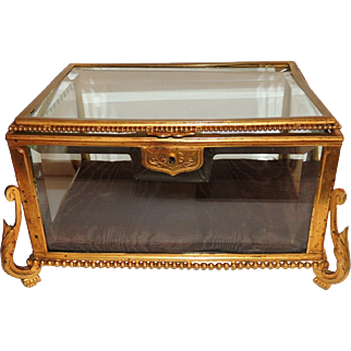 French Bronze Beveled Crystal Glass Box Casket Ormolu Mountings