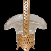 French Gilt Doré Bronze Woven Brass Basket Etched Crystal Glass Insert