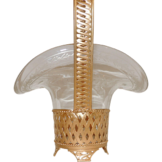 French Gilt Doré Bronze Woven Brass Basket Etched Crystal Glass Insert