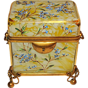 Bohemian Marbleized Glass Hand-Painted Enameled Ormolu Casket Box