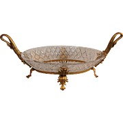 French Dore Bronze & Cut Crystal Ormolu Swan Centerpiece Bowl
