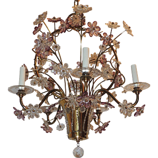 Gilt Bronze Chandelier Beaded Basket Amethyst Crystal Flowers Fixture