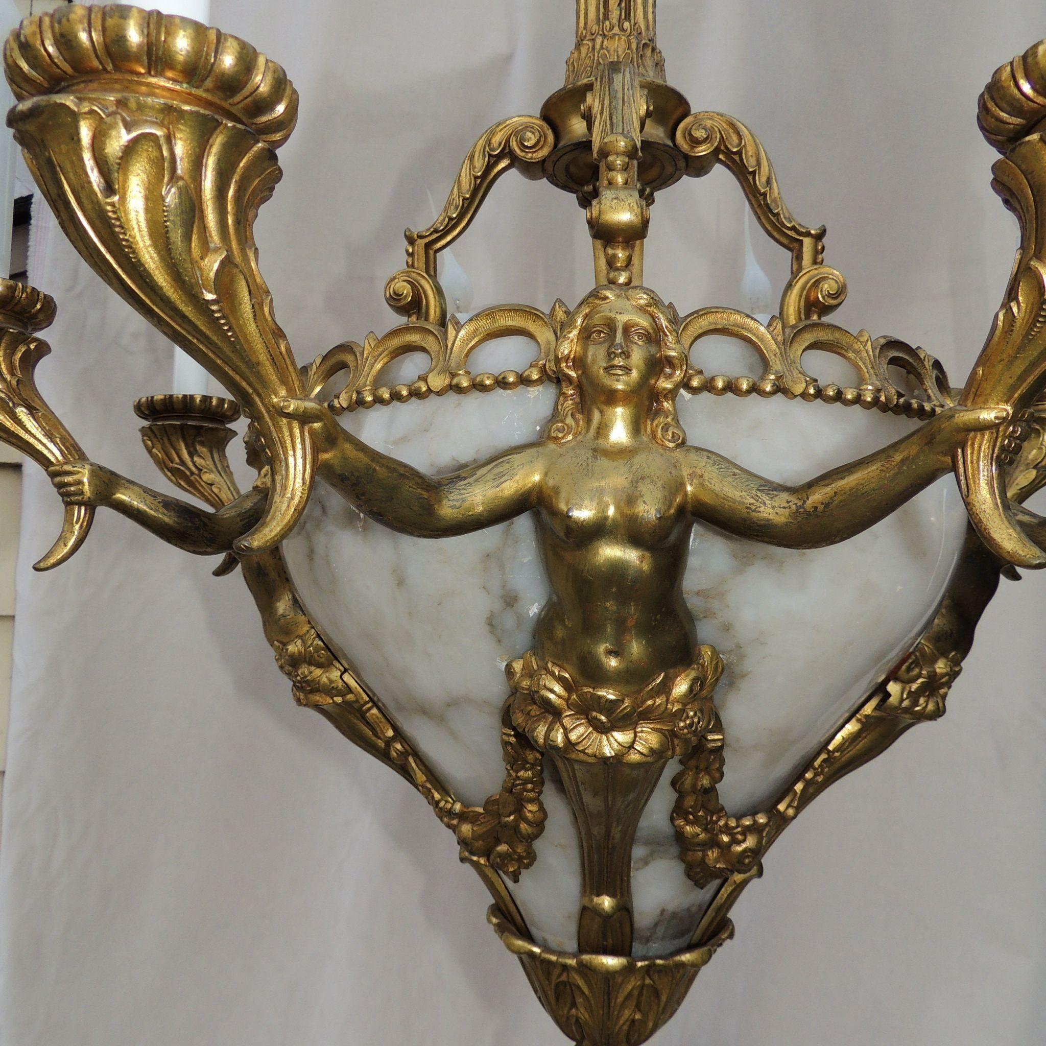 French Dor Bronze Alabaster Marble Female Figural Chandelier – Antique Alabaster Chandelier