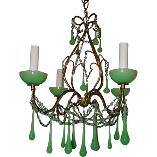 Four-Light Green Opaline Beaded Tole Glass Italian Chandelier Fixture