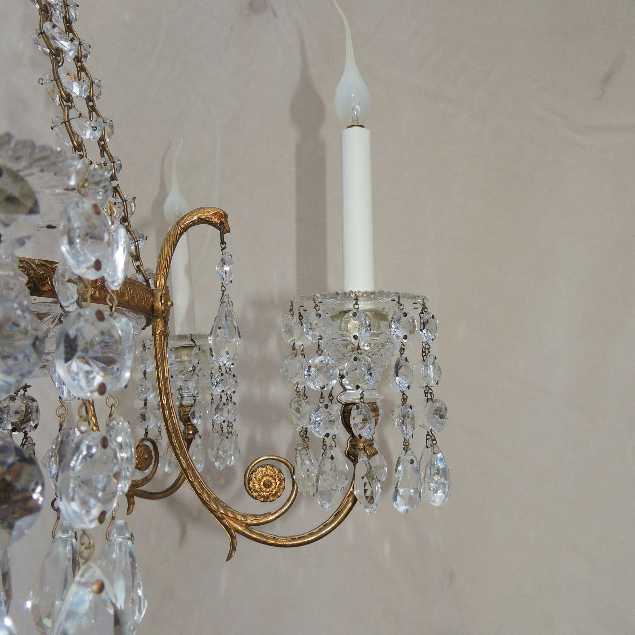 French Doré Bronze Cut Crystal Bowl Neoclassical Empire Chandelier
