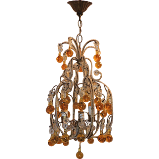 Beaded Italian Three-Light Amber Crystal Chandelier Pendent Fixture