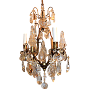 French Gilt Bronze Crystal Petite Bird Cage Chandeliers Fixture