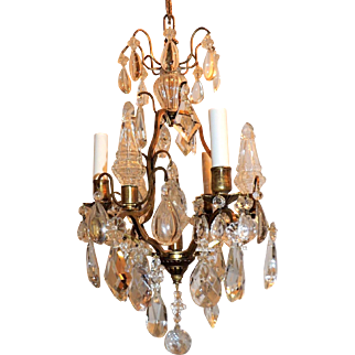 Pair French Gilt Bronze Crystal Petite Bird Cage Chandeliers Fixtures