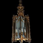 French Doré Bronze Gold Gilt Beveled Glass Lantern Fixture Chandelier