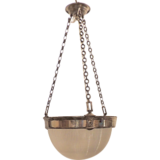 Vintage Holophane Glass Silvered Bronze Nickel Chrome Chandelier Fixture Pendent