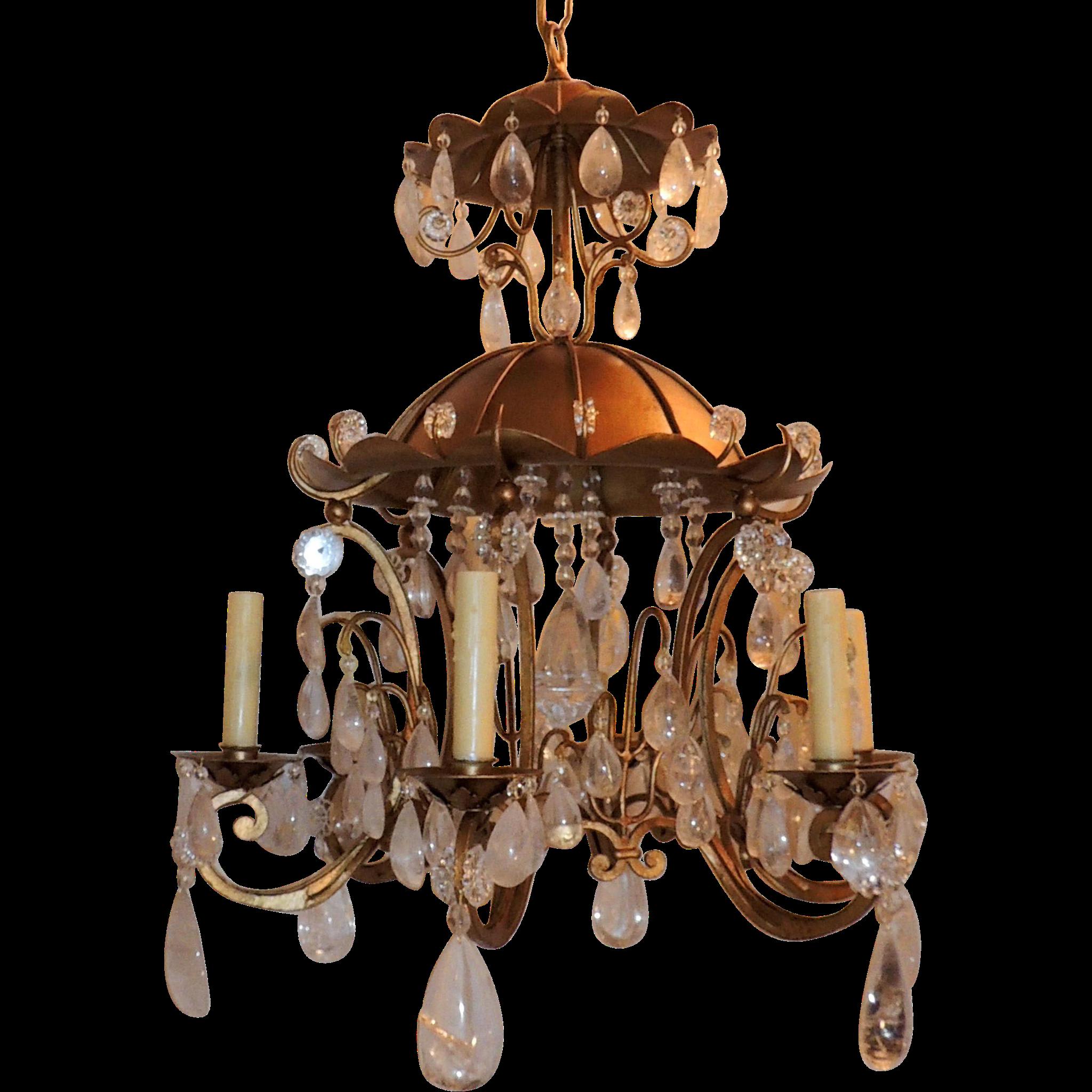 Gold Gilt Pagoda Rock Crystal Vintage Chandelier Fixture from – Rock Crystal Chandelier