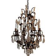 French Bagues Rock Crystal Gilt Iron Eight-Light Chandelier Fixture