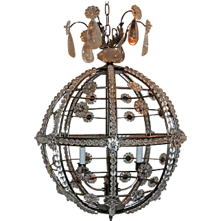 Modern Transitional Brushed Nickel Sputnik Rock Crystal Globe Chandelier Fixture