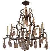 Wonderful Bagues Crystal Beaded 8 Light Chandelier with Rock Crystal