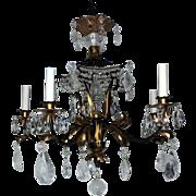 Bagues Five Light Rock Crystal Beaded Two-Tone Gilt Pagoda Chandelier