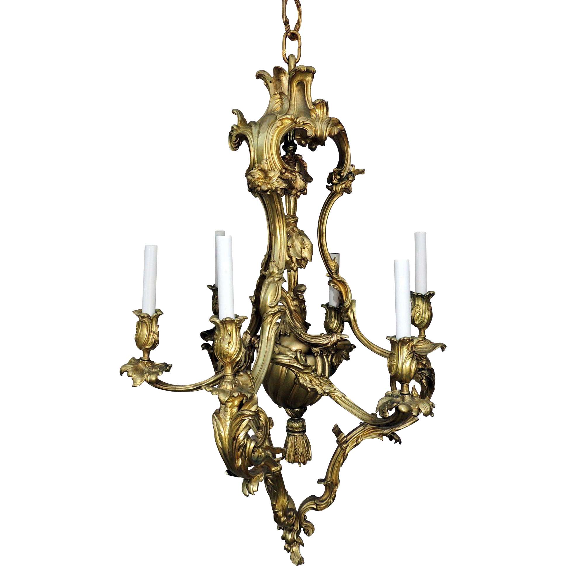 French Rococo Doré Bronze Six Light Elegant Chandelier Tassel