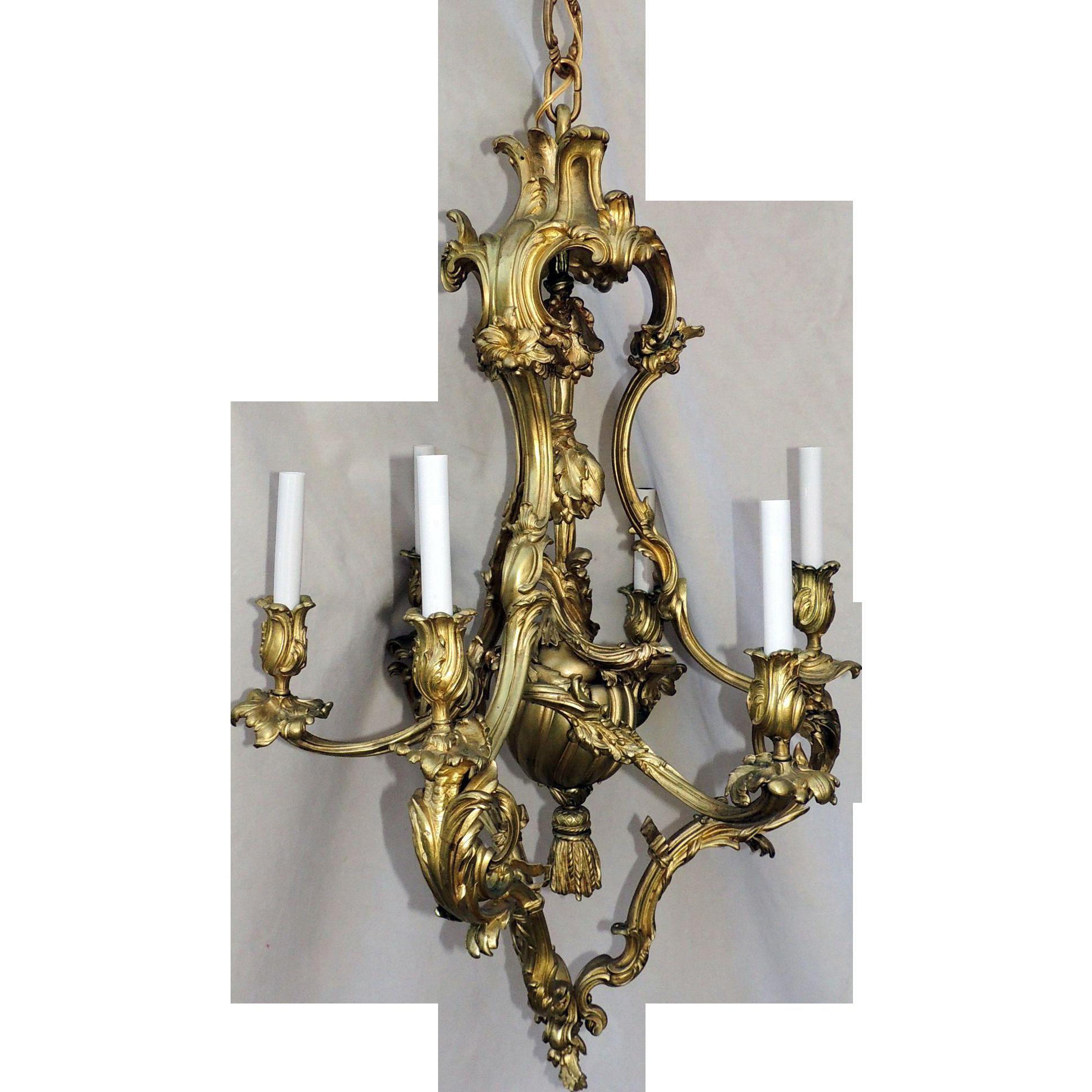 French rococo dor bronze six light elegant chandelier tassel french rococo dor bronze six light elegant chandelier tassel fixture antique elements ruby lane mozeypictures Gallery