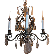 French Silver Gilt four-Light Rock Crystal Chandelier Bagues Fixture