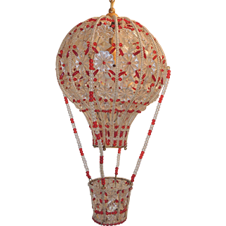 Beaded Italian Gilt Bronze Clear/Red Crystals Hot Air Balloon Chandelier