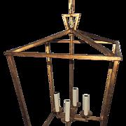 Set Three Large Modern Transitional Gilt Pendants Lantern Fixtures
