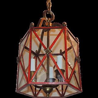 Petite Red Gilt Bronze Hexagon Panel Lantern Fixture 3 Lights Pendent
