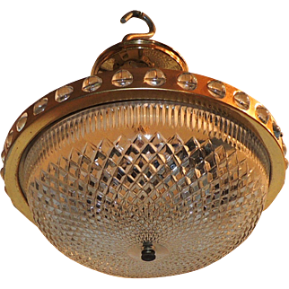 Mid-Century French Gilt Crystal Glass Flush Mount Chandelier Fixture
