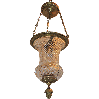 Neoclassical Dore Bronze and Cut Crystal Lantern