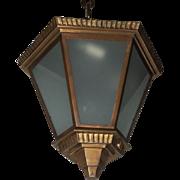 Art Deco Bronze Frosted Glass Hexagon Flush Mount Pendent Fixture